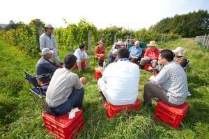 昼休みの話題はもちろん、それぞれの農園の作柄のこと。ワイン農家として率直に話し、学び合う仲間だ。